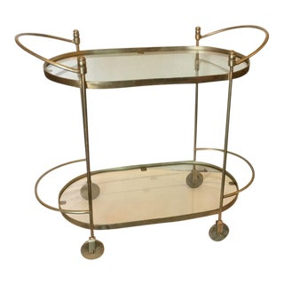 Brass & Glass Oval Bar Cart