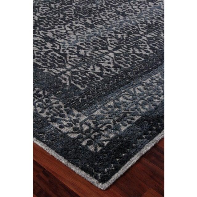 Textile Buckingham Navy Blue Hand knotted Wool Area Rug - 6'x9' For Sale - Image 7 of 9