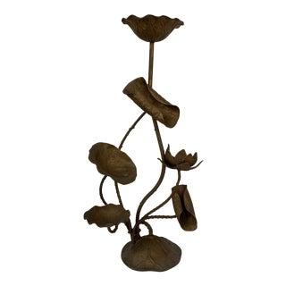 Vintage Japanese Bronze Lotus Candle Holder For Sale