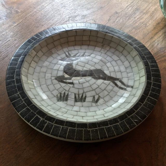 Mid-Century Danish Mosaic Plate With Leaping Reindeer Deer or Stag by Signed Heide of Denmark For Sale - Image 5 of 7