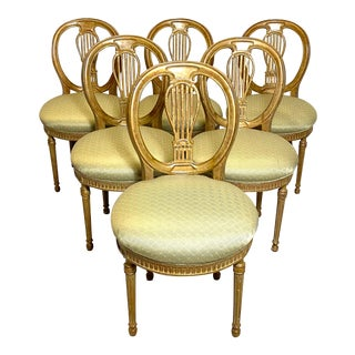 Rare Antique Set of 6 French Dining Chairs Balloon Back Silk Cushions Fabulous For Sale