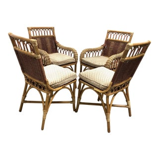 Bamboo & Rattan Dining Chairs—Set of 4 For Sale
