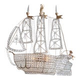 Image of Antique 1920s Italian Venetian Crystal Sailboat Boat Ship Chandelier For Sale