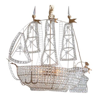 Antique 1920s Italian Venetian Crystal Sailboat Boat Ship Chandelier For Sale
