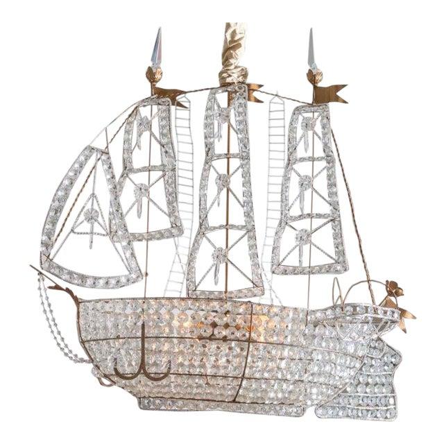 Antique 1920s Italian Venetian Crystal Sailboat Boat Ship Chandelier For Sale