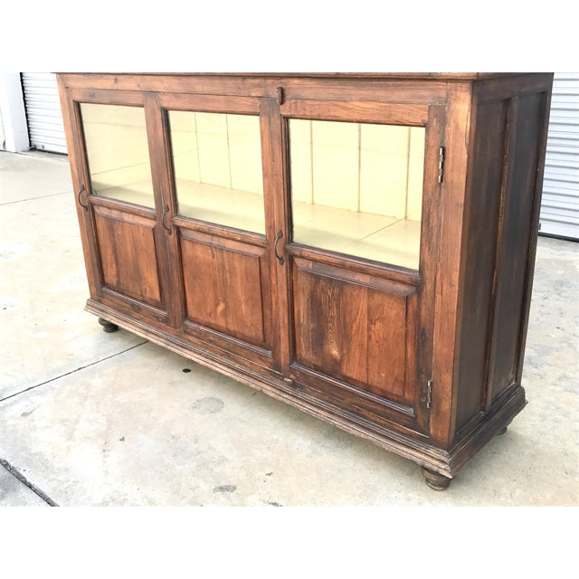 Antiqued Reclaimed Library Wood Vitrine For Sale - Image 4 of 11