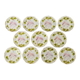 Set of 11 Antique German Flamingo Plates For Sale