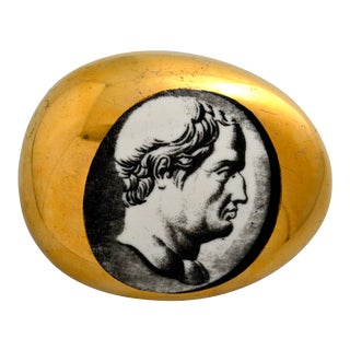 Vintage Piero Fornasetti Porcelain Roman Bust Paperweight For Sale