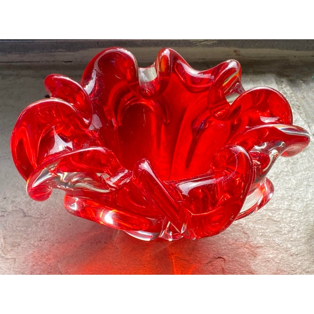 Mid 20th Century Mid Century Red Murano Dish For Sale - Image 5 of 6