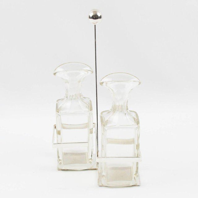 German Quist Art Deco Silver Plate and Crystal Oil and Vinegar Cruet Table Set - Image 3 of 9