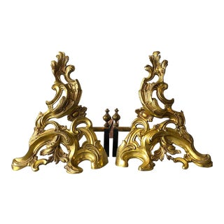 Vintage Rococo Fire Gilt Solid Brass Chenets - a Pair For Sale