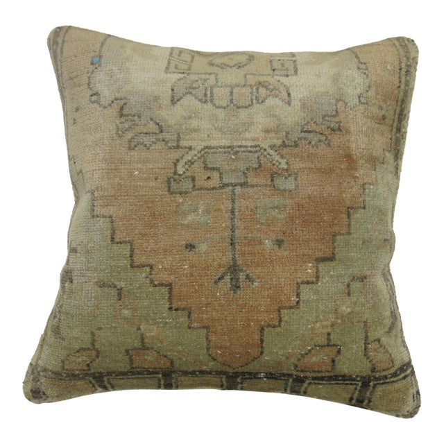 Vintage Oushak Rug Pillow For Sale