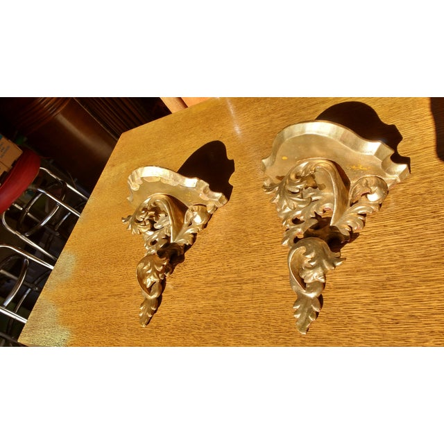 Antique Gold Wall Sconce Shelves - A Pair - Image 3 of 5