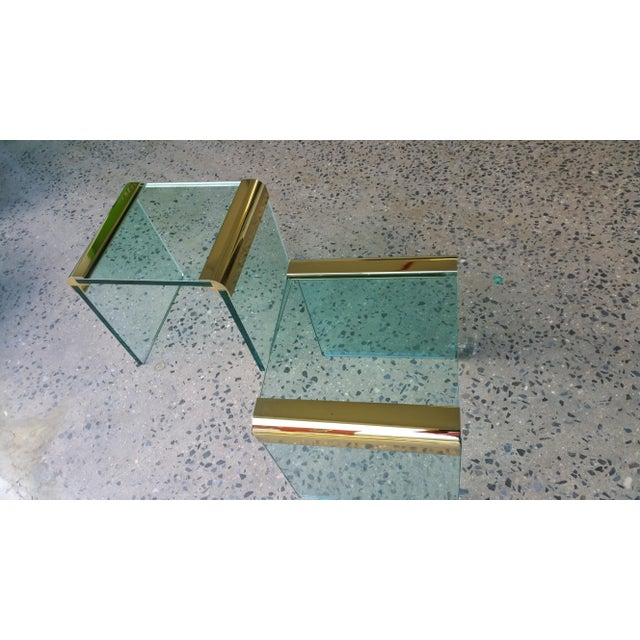 Pace Collection Brass & Glass End Tables- A Pair - Image 8 of 8