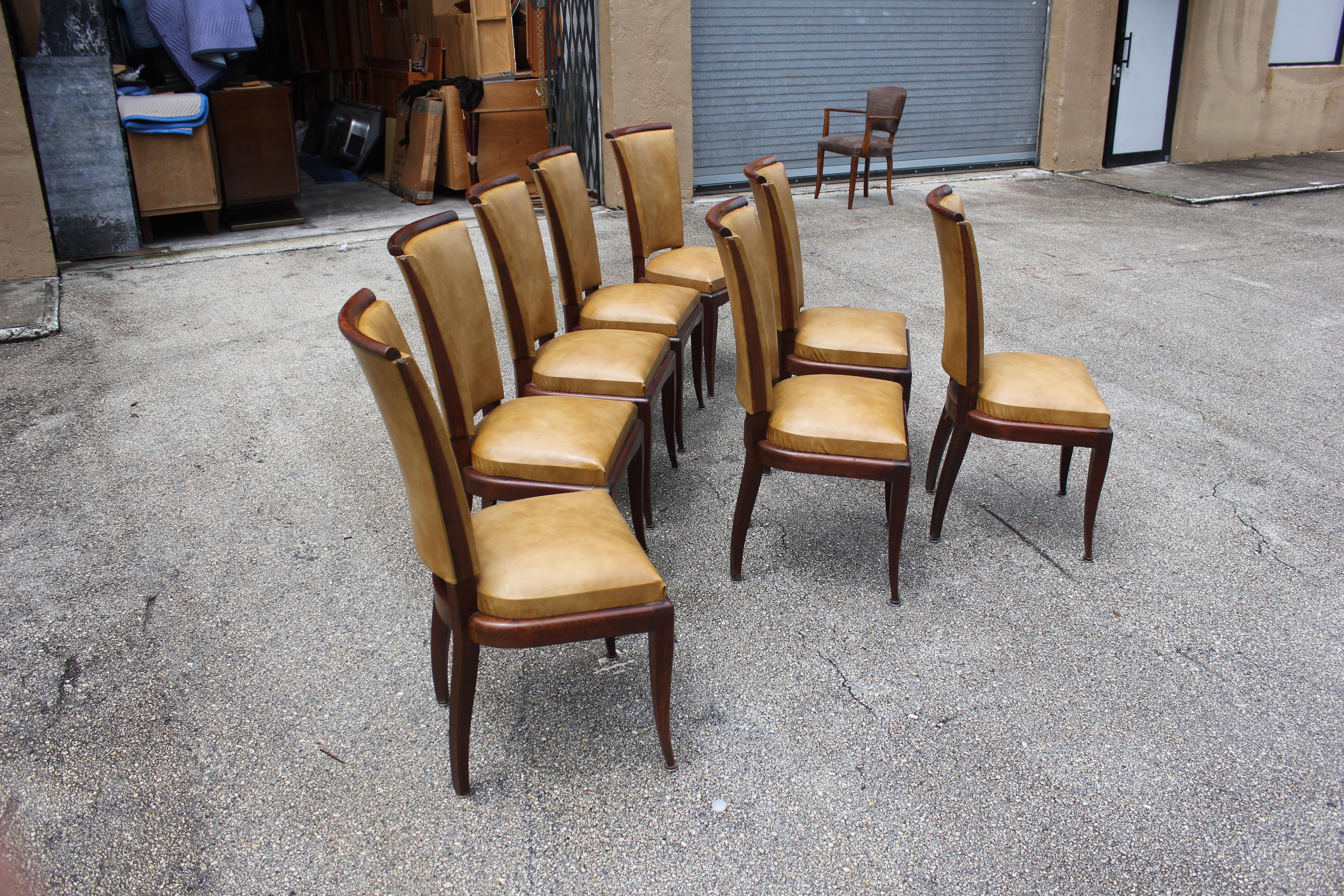 French Art Deco Jules Leleu Style Mahogany Dining Chairs Set