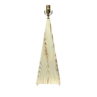 20th Century Organic Modern Obelisk Shape Faux Wood Tole Lamp For Sale