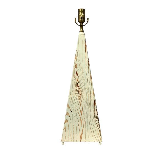 20th Century Organic Modern Obelisk Shape Faux Wood Tole Lamp For Sale