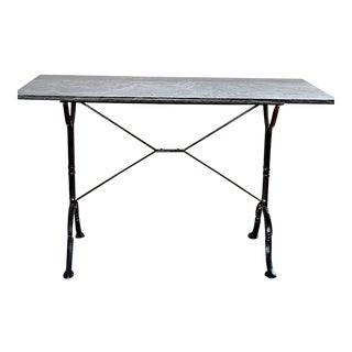 1960s Art Deco Iron and Marble Top Console Table For Sale