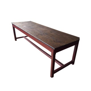 Antique Italian Farm Table With Stretcher For Sale