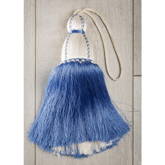 Traditional White & French Blue Tassel, Small For Sale - Image 3 of 3