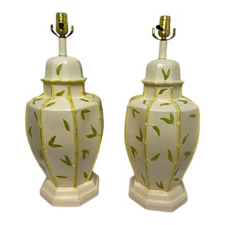 Vintage 1960s Faux Bamboo Yellow Table Lamps - a Pair For Sale
