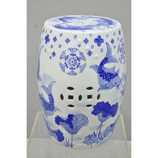 Blue & White Koi Fish Porcelain Chinese Garden Stool Preview