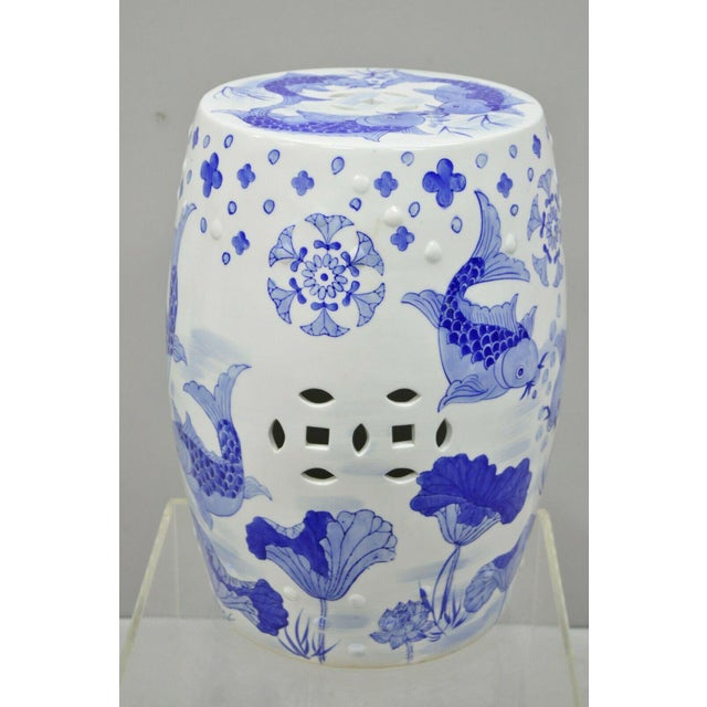 Blue & White Porcelain Chinese Garden Seat with Koi Fish. Item features believed to be Early to Mid 20th Century.