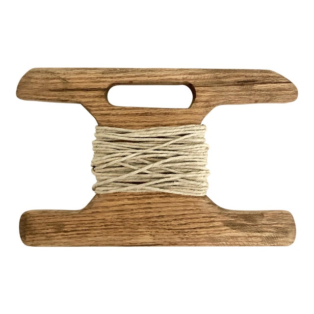 Hand-Carved Wood Kite Spool For Sale