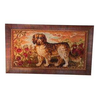 1920s Vintage St. Bernard Dog in Landscape Framed Needlework Art For Sale
