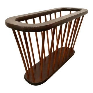 Large Arthur Umanoff Walnut Spindle Magazine Rack For Sale