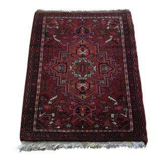 Vintage Persian Gharajeh Pink Blue & Green Wool Rug - 2′5″ × 3′2″ For Sale