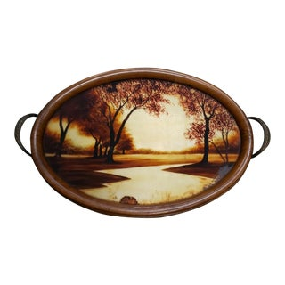 1930's French Art Deco Germonde Hand Painted River Motif Serving Tray For Sale
