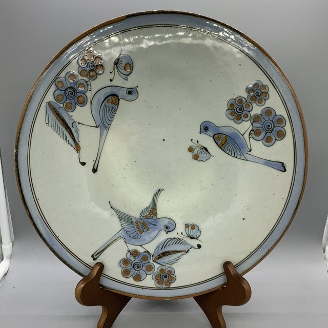 1960's Vintage Ken Edwards Pottery El Palomar Blue Cake Stand For Sale - Image 10 of 10