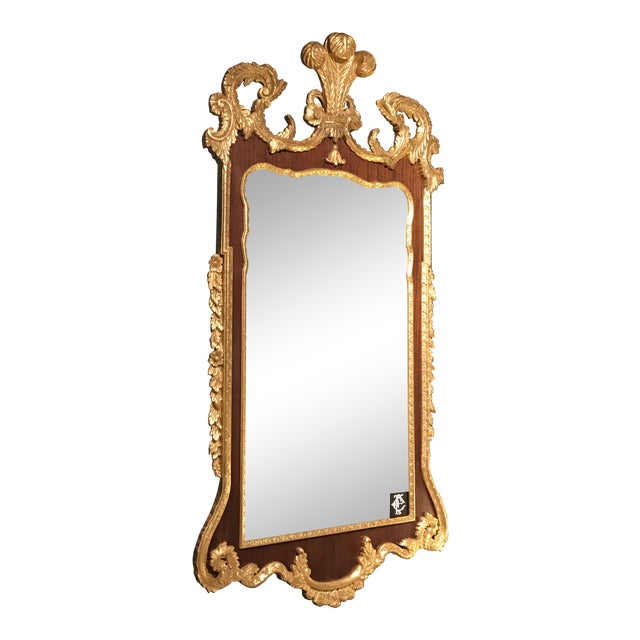 1960s Gothic Gilded Plume Top Gold & Wood Mirror For Sale