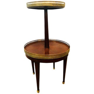 French Mahogany Marble-Top Dumbwaiter / Two-Tier Side Table With Brass Gallery