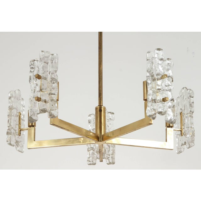 Gold Italian Glass Pendant With Kalmar Textured Glass Shades For Sale - Image 8 of 10