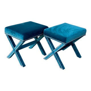 Teal Velvet X Form Bench Seats - a Pair For Sale