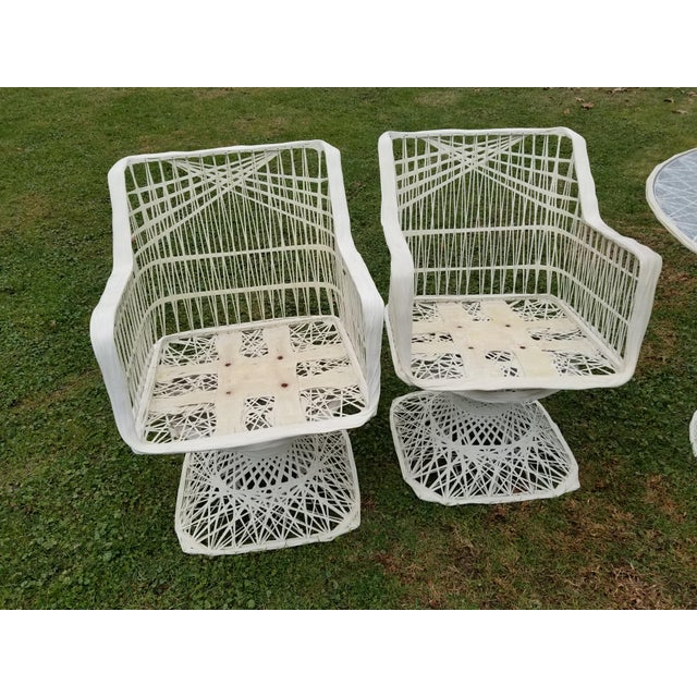 Russell Woodard Spun Swivel Fiberglass Style Chair Table Patio Set 5 Pc - Image 6 of 11
