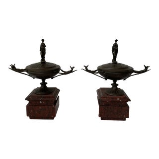 19th Century French Napoleon III Period Bronze Lidded Urns on Marble Bases - a Pair For Sale