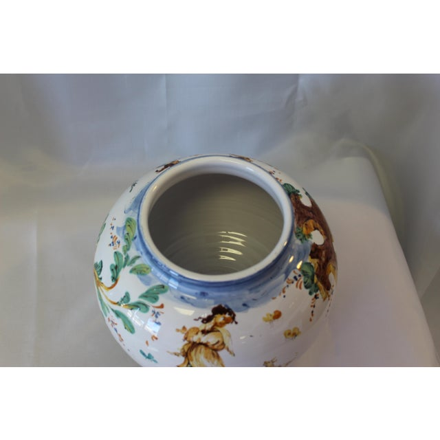 Late 20th Century Vintage Ernan Italian Hand Painted Ceramic Lidded Urn For Sale - Image 5 of 10