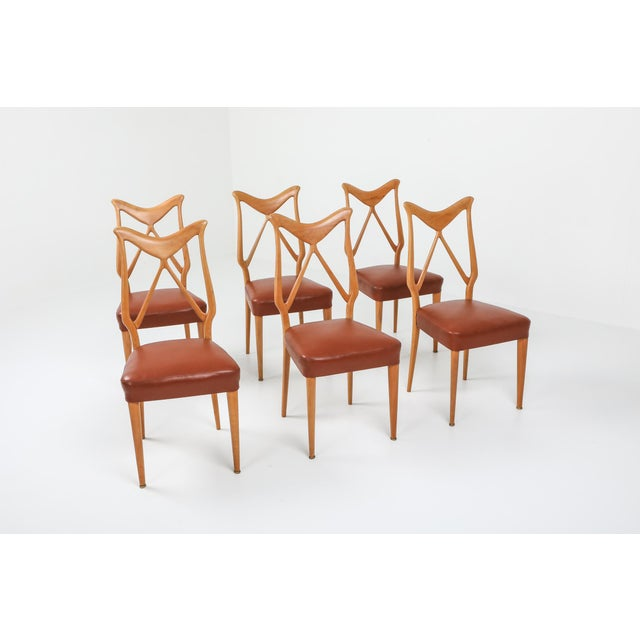 Mid-Century Modern 1970s Oak & Leather Dining Chairs in the Style of Ponti - Set of 6 For Sale - Image 3 of 12