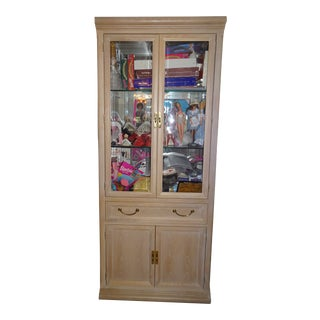 Vintage Traditional Glass Door Cabinet For Sale