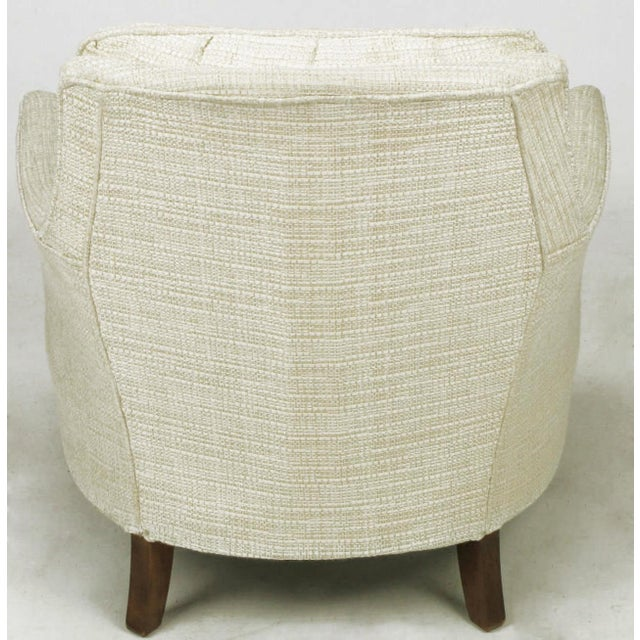 Button Tufted Creamy Linen Lounge Chair and Ottoman For Sale In Chicago - Image 6 of 9