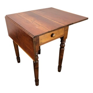 Antique American Cherry Drop Leaf Side Table W Turned Legs For Sale