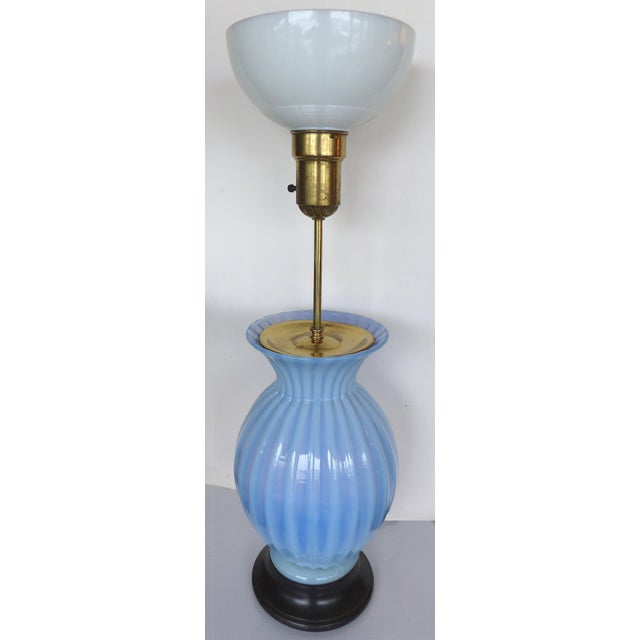 Mid-Century Modern Blue Murano Glass Table Lamp by Marbro For Sale - Image 3 of 9