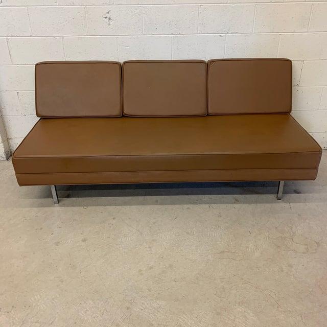 Mid Century Modern Vinyl Hassock Sofa For Sale - Image 13 of 13