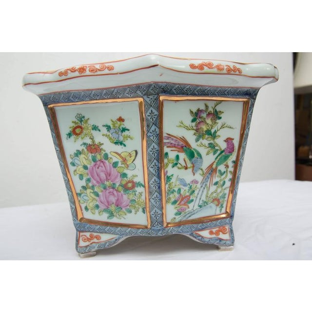 Rose Medallion Rectangular Ceramic Cache Pot/Jardiniere For Sale In West Palm - Image 6 of 9