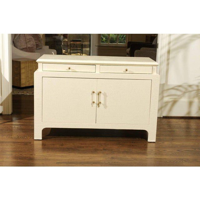 Gorgeous Restored Raffia Cabinet by Harrison-Van Horn in Cream Lacquer For Sale - Image 10 of 11