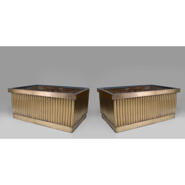 2 Pair Of American 1930's Monumental Rectangular Bronze Planters For Sale - Image 4 of 4