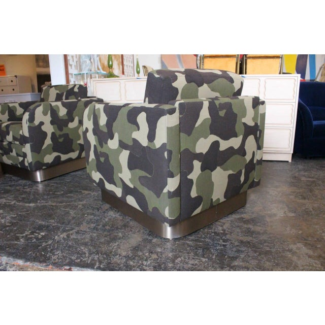 Camouflage Cube Chairs With Bronze Plith - Pair - Image 5 of 8